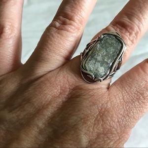 Israel Sterling Silver 925 Roman Glass Ring 9